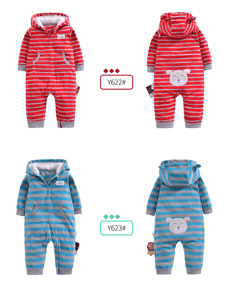 617fee37be30 2018 Autumn Winter Baby Boy Clothes Baby Rompers Fleece Newborn ...