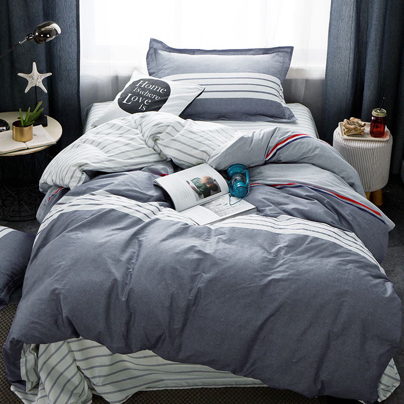 2018 Grey Stripes Preppy Bedding Set 3PC Bed Cover Twin Size Children Students Kids Bedlinens Cotton Linen Sheet Pillowcase