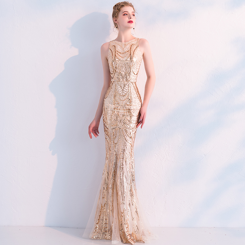 weiyin Robe de Soiree Newfashioned Golden Sleeveless Elegant Long Evening  Dress Mermaid Formal Party Sequins Maxi Dress WY714 -in Evening Dresses  from ... 491adbc85ee8