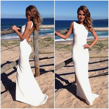 Sexy Mermaid Beach White Wedding Dresses 2019 Elastic Backless Gowns Women Party Dress Cheap Bridal