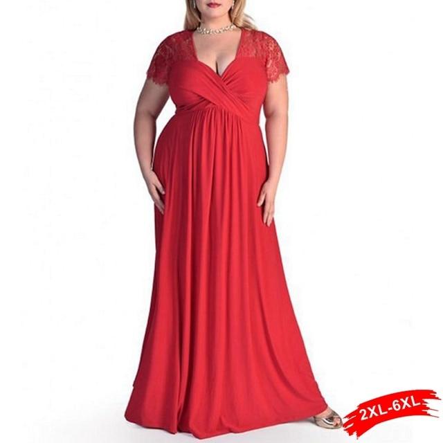 a82fadf17 Xxl 4Xl 5Xl 6Xl Plus Size Lace Panelled Querida Decote Maxi Vestido de  Renda Das Mulheres