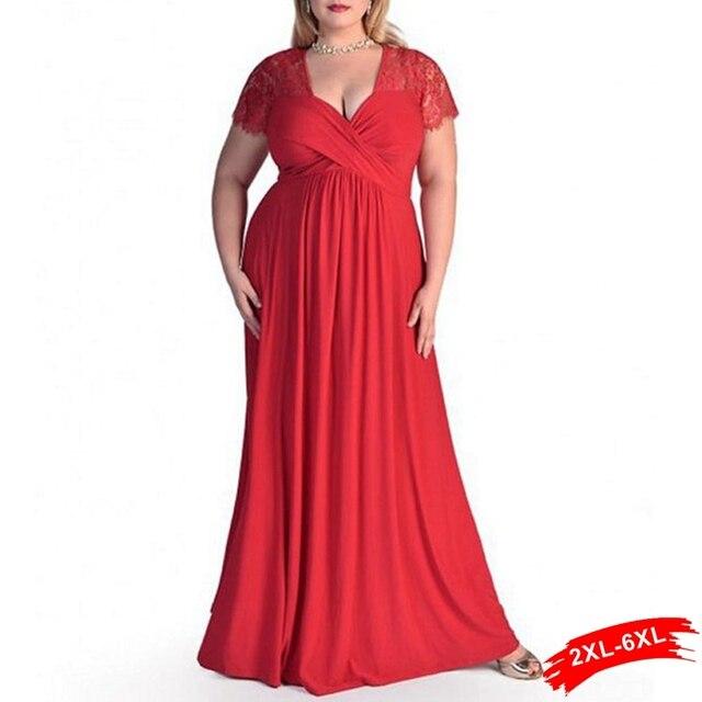 Xxl 4Xl 5Xl 6Xl Plus Size Lace Panelled Sweetheart Neckline Maxi Lace Dress  Women Peplum Gown 2c63df134f3c