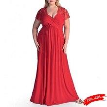 XXL 4XL 5XL 6XL Плюс Размеры Кружево панелями Милая декольте Макси Кружево платье Для женщин баски платье элегантное платье Вечеринка Длинные