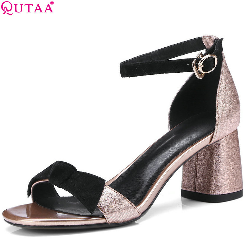 QUTAA 2018 Women Sandals Square High Heel Genuine Leather +pu Peep Toe All Match Westrn Stye Elegant Women Sandals Size 34-42 qutaa 2018 women sandals pu leather fashion square high heel women shoes casual black square toe ladies sandals size 34 42