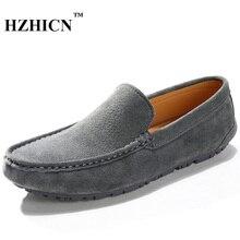Hzhicn Фирменная Новинка Модные мужские повседневные туфли на плоской подошве Лоферы лето/весна Мужские туфли для вождения Мокасины кожаные туфли-лодочки дышащая