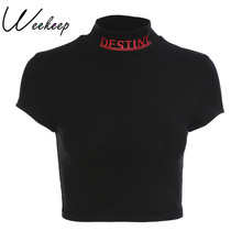 Weekeep Women Sexy Cropped Turtleneck t shirt Summer Black Cotton Letter Print T-shirt Fashion Stree