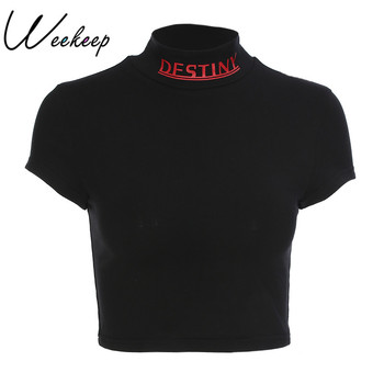 Weekeep Women Sexy Cropped Turtleneck t shirt Summer Black Cotton Letter Print T-shirt Fashion Streetwear Slim Waist Crop Top