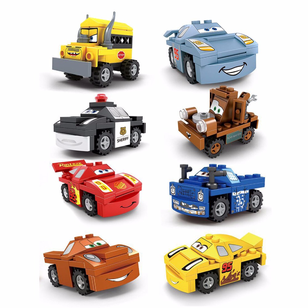 8PCS Mini Building Blocks Vehicles Set,Crazy Racing Series,Cars Collection Building Bricks Toys 1004