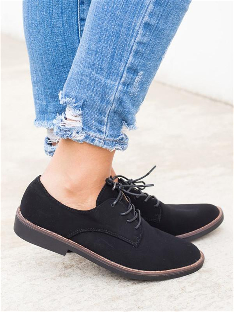 Women Flat Platform Shoes Oxfords British Style Platform Brogue Shoes For Female Women Flock Leopard Print Lace Up Footwear D25 in Women 39 s Flats from Shoes