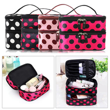Double-Deck Zipper Travel Makeup Organizer Bag