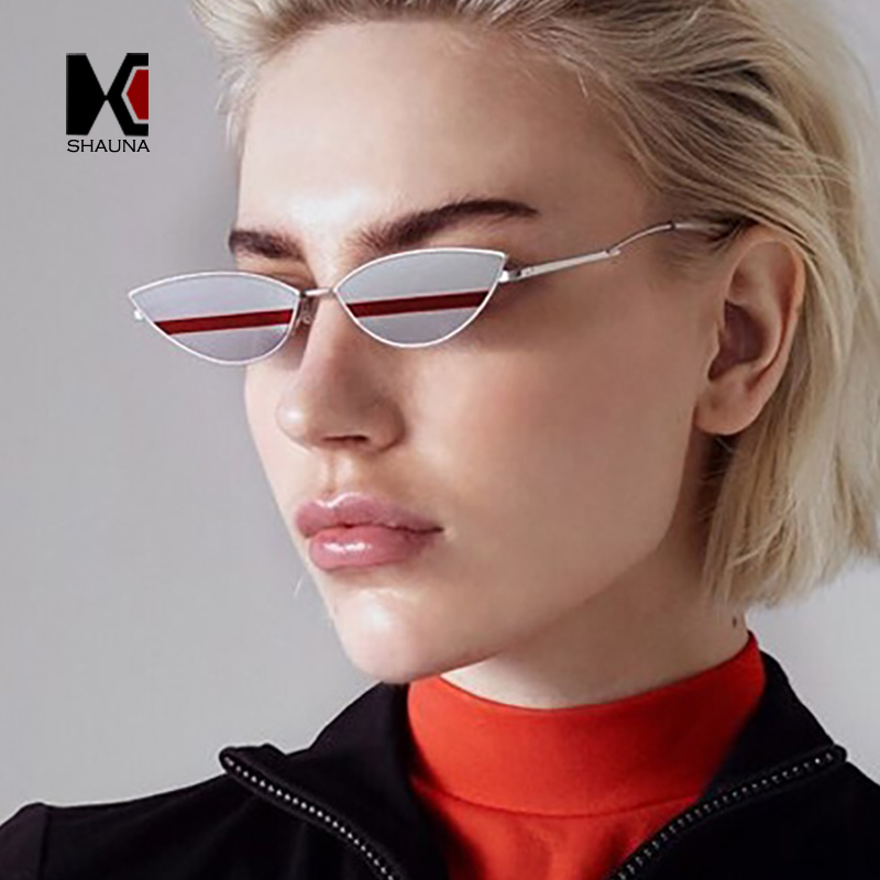 SHAUNA Unique Double Color Lens Women Small Cat Eye Sunglasses Ins Popular Men Mirror Coating With Stripe Lens Glasses UV400