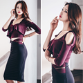 autumn of 2017 new nightclub sexy slim slim package hip dress Strapless hollowed out in the long section of two piece suit