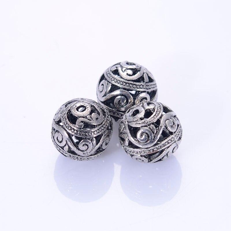 Античная Дизайн Тибетский Стиль Бусины литой Бусины 15 мм старинное серебро flligree мяч для ювелирных изделий продается 30 шт.