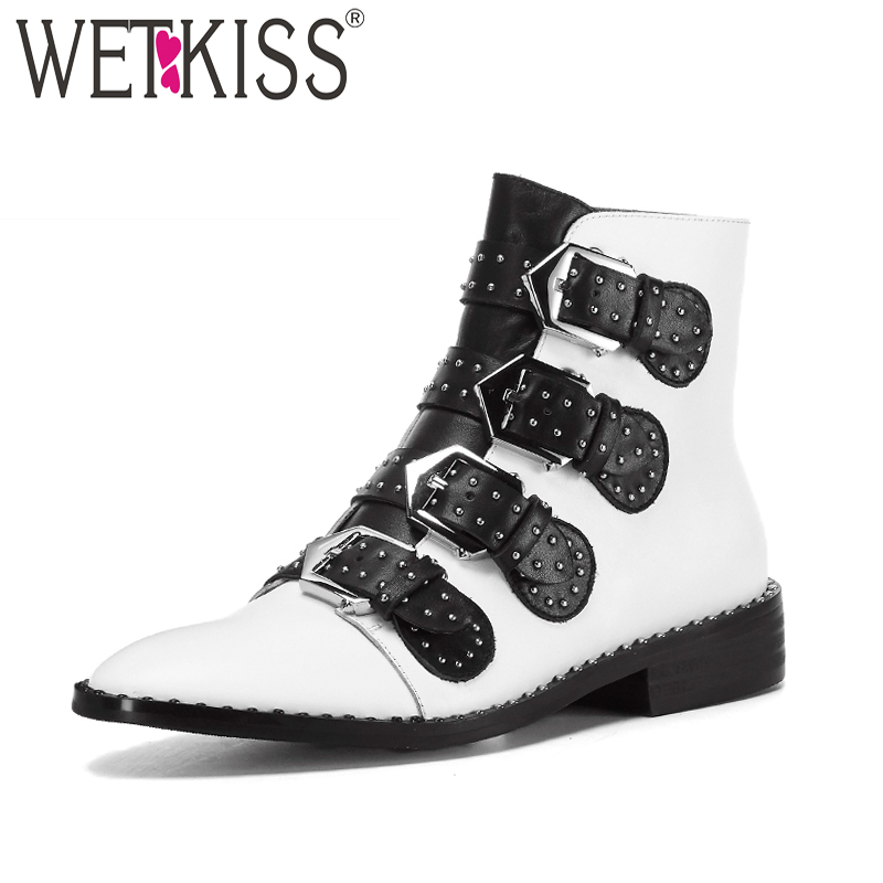 WETKISS Genuine Leather Woman Ankle Boots Rivet Pointed Toe Footwear Buckle Autumn Fashion Boots 2019 Flat Sole Female ShoesWETKISS Genuine Leather Woman Ankle Boots Rivet Pointed Toe Footwear Buckle Autumn Fashion Boots 2019 Flat Sole Female Shoes