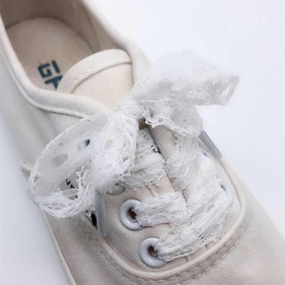 1 çift Ayakkabı Bağı Yeni 3CM Genişlik Moda Seksi Dantel Ayakabı 100CM Uzunluk Tuval Sneaker spor ayakkabılar Dantel 3 Renkler