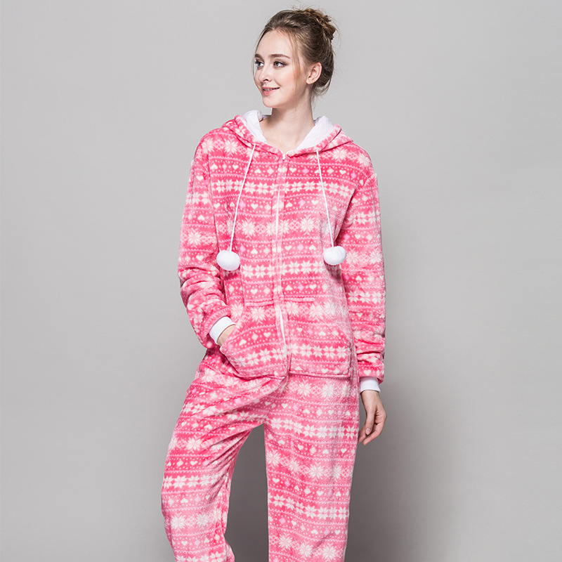 Christmas Pajama Onesies.Us 26 39 20 Off Zipper Pyjama Christmas Women Snow Pink Pajamas Onesie For Teenagers Lady Adults Selling Best Pijamas In Chinese Market Online On
