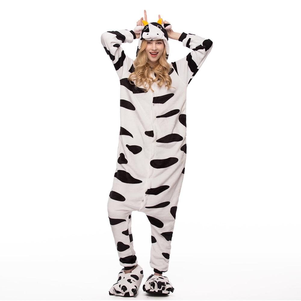 Adult Cow Kigurumi   Pajamas     Set   Women Onesie Winter Sleepwear Pijama Pyjamas Animal Onesies For Adults