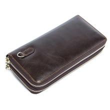 Деловой кошелек, Мужская Ручная сумка, двойной мужской кошелек, Длинный кошелек, первый слой, Воловья кожа, Большая вместительная сумка-клатч, мужская сумка для мобильного телефона