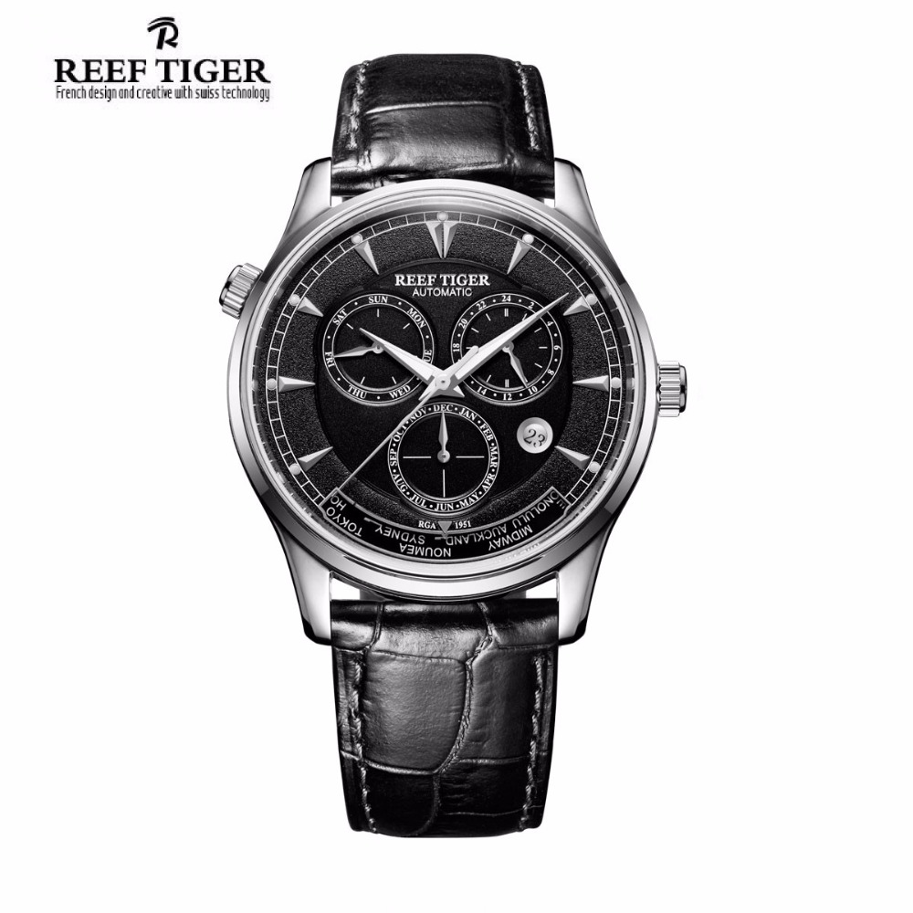 Reef Tiger/RT Automatic Watches for Men Month Date Day World Time Steel Leather Strap Watch RGA1951 yn e3 rt ttl radio trigger speedlite transmitter as st e3 rt for canon 600ex rt new arrival