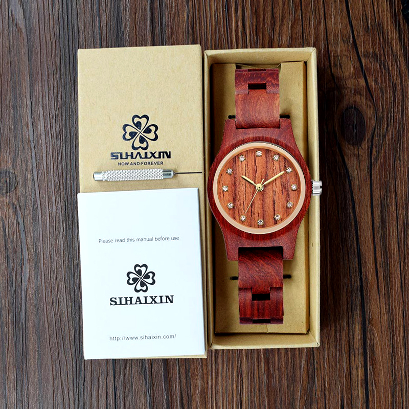 New Design Red Women Wooden Watch Luxury Brand Top Gift 6