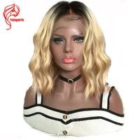 Hesperis Ombre 1B/#613 Боб Cut Full Lace человеческих волос парики Glueless короткие Ombre кружева парик блондинка два тона Бразильский Волосы remy парики