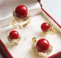 Hot Sale New Style 10mm 14mm Coral Red South Sea Shell Pearl Earrings Ring Necklace
