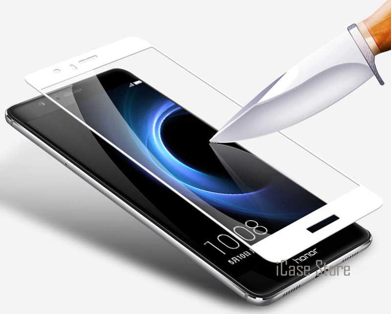 Completa Tampa de Vidro Temperado Para Huawei Honor 8 9 6X 6A P8 Lite 2017 P9 2 P10 Mais Nova Tela filme Caso protetor Cor Temperado