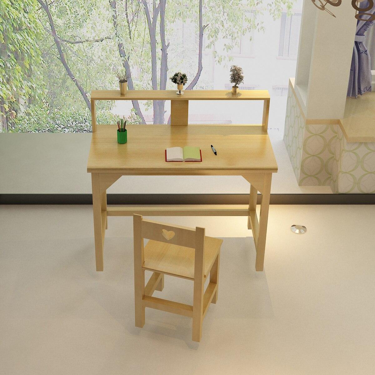 Children study table solid wood desk bookcase bination children
