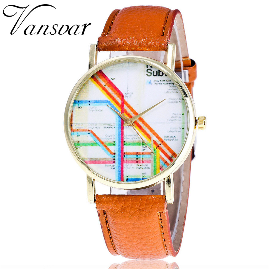 ᗐVansvar Brand Leather New York Subway Map Watch Casual Fashion ...