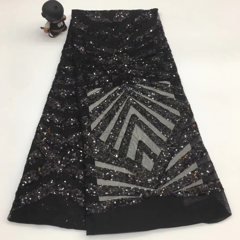5yards pc High quality black color African sequins net lace fabric embroidered French lace fabric