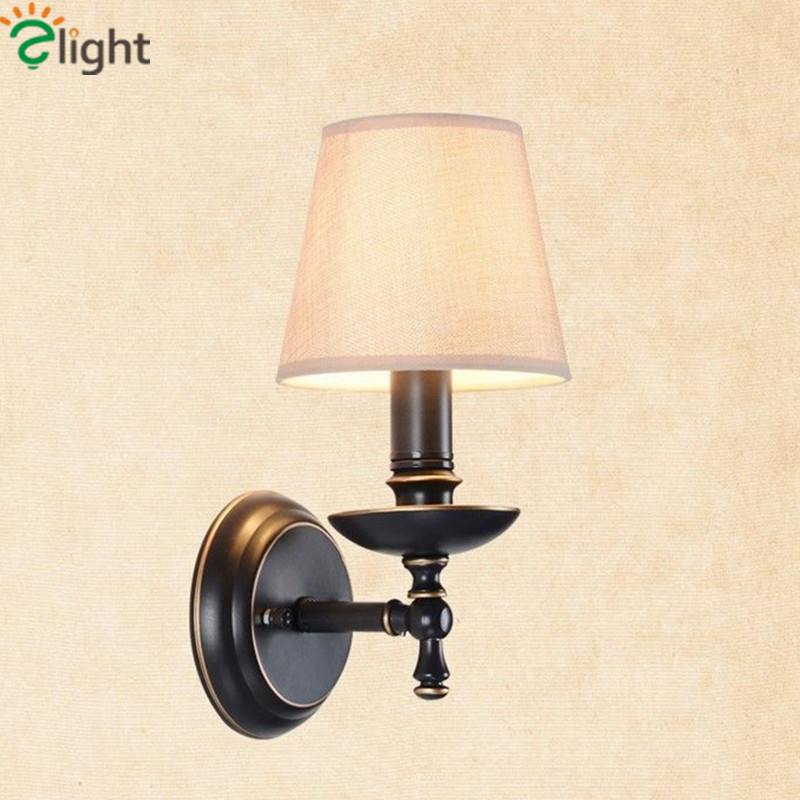 ФОТО Europe Vintage Painted Iron Wall Lamp American Pastoral Bedroom Led Wall Lamp With lampshade