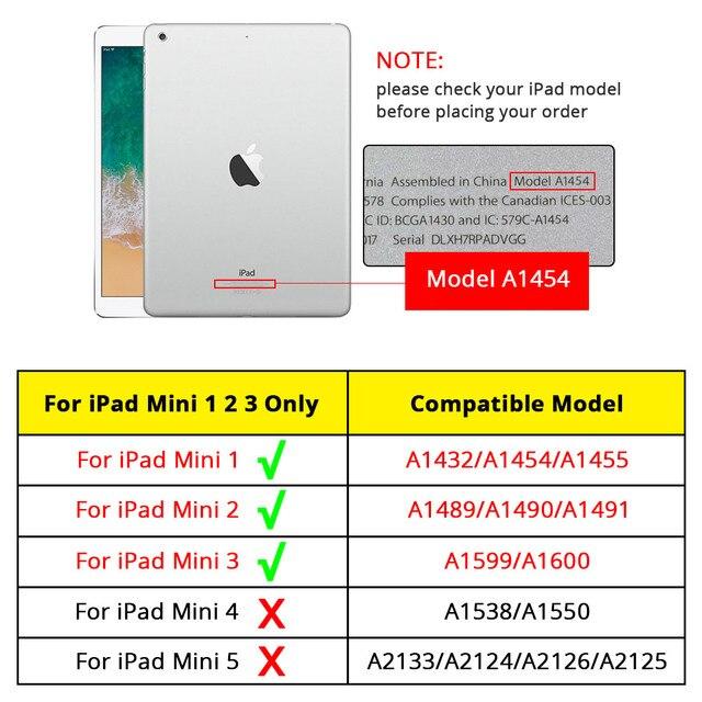 Funda de cuero suave de para iPad Mini 1,2 y 3 de Apple, funda abatible inteligente Ultra delgada a prueba de golpes, resistente a caídas, funda antipolvo