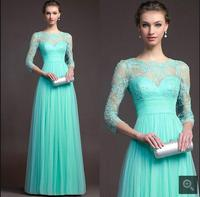 New arrival Sky blue with 3/4 sleeve beaded lace bridesmaid dress sexy pleated summer beach a line bridesmaid gowns hot sale