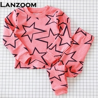 Girls Boys Pajama Pajamas Sets Two Pieces Tops Pants Sleepwear Spring Fall Winter Dog Bear Star