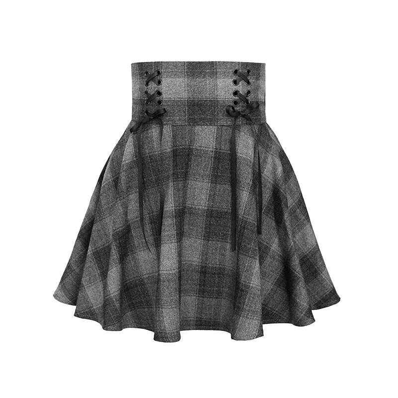2018 Vintage décontracté mode taille haute laine école soleil japon plissé Plaid femme courte jupe/rétro mignon Mini jupes femmes