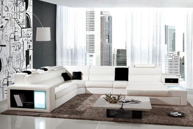 Modern Living Room Leather Corner Sofa U Shaped Sectional Sofas With Led Light