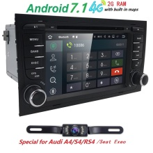 Free Camera1024*600 Quad Core 2din Android 7.1 car Auto Dvd player for Audi A4 (8E/8H) 2000-2012 S4 RS4 B6 B7 Seat Exeo GPS Navi