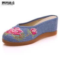 Women Slippers Wedges Med Heels Woman Linen Embroidered Slides Slippers Summer Ladies Casual Comfort Cotton Shoes