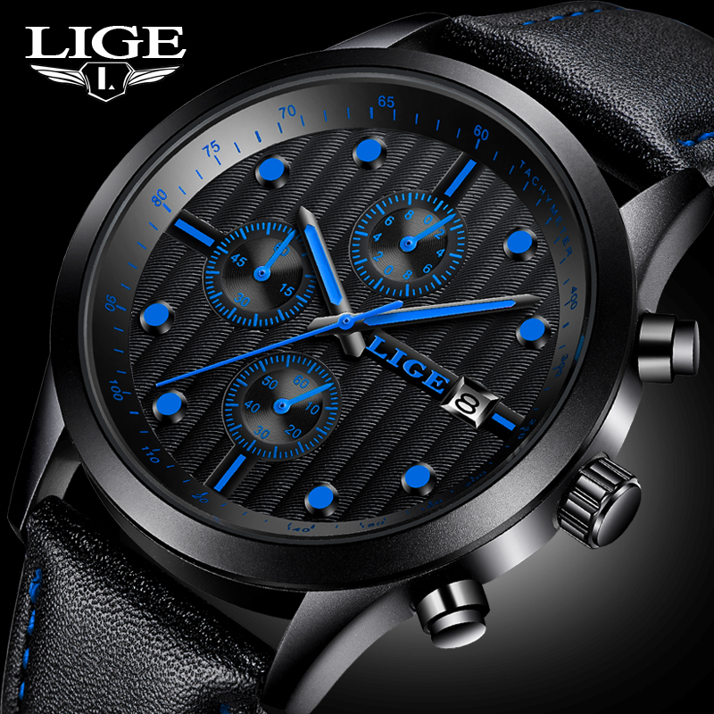 LIGE Watches Men Luxury Brand Man Waterproof Sport Military Quartz Watch Men Fashion Business Leahter Clock relogio masculino lige new men watches top brand luxury men s fashion sport quartz watch man multifunction date waterproof clock relogio masculino