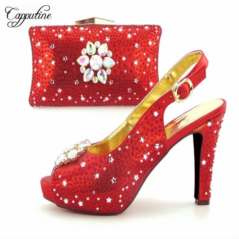Capputine Hot Selling Unique Shoes And Bag Set Italian Elegant Woman High Heels Shoes And Matching Bag Set For Wedding Party capputine high quality crystal super high heels shoes and bag set italian style woman shoes and bag set for wedding party g33