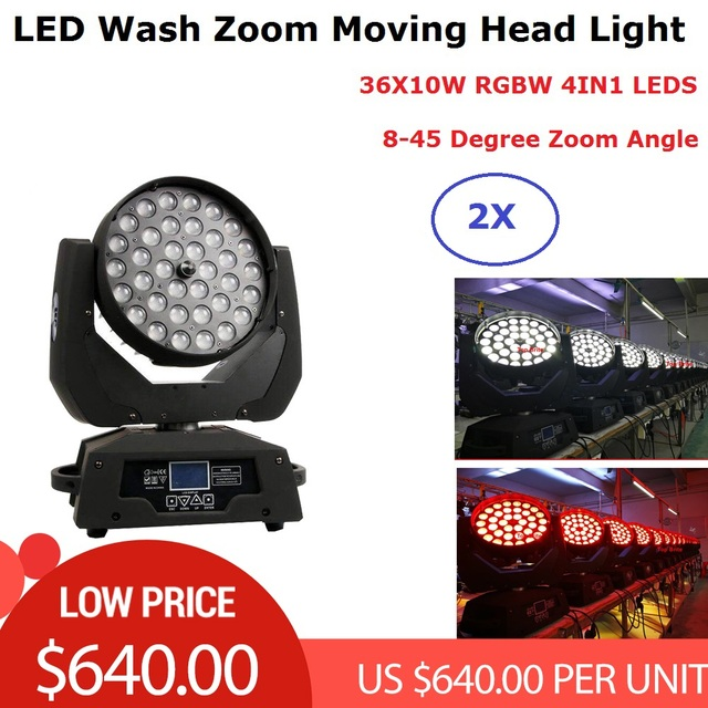 LED 36X10W RGBW 4IN1 Wash / Zoom Light DMX512 Moving Head Light Professional Dj / Party Show Stage Light Wedding Moving Head DMX
