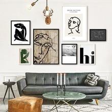 Lienzo minimalista de estilo europeo con diseño de líneas de Matisse abstractas Vintage, pósteres impresos, imágenes artísticas para pared, decoración del hogar para sala de estar