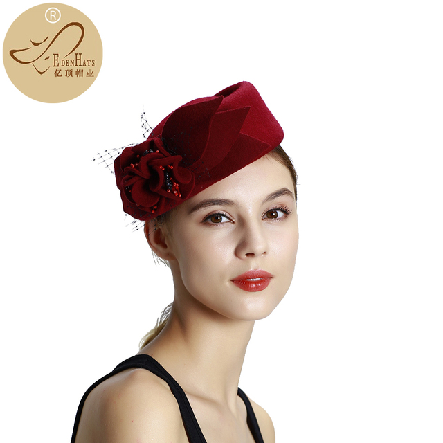 Fascinator Hats for Women Winter Embroidered Veil cotton Felt Pillbox Hats for Formal Cocktail Party Wedding Hats Dress W10-2744