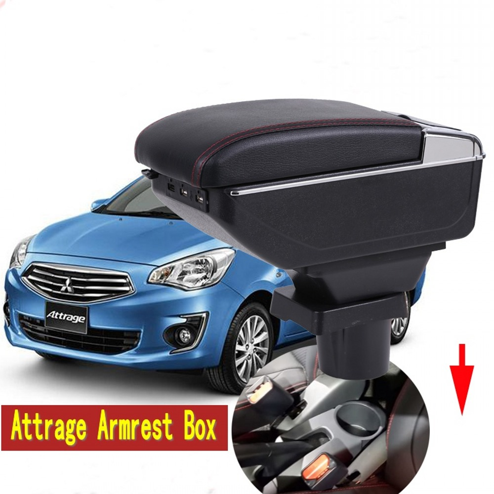 For Mitsubishi Attrage Armrest box central Store content box with cup holder ashtray with USB interface universal leather car armrest central store content storage box with cup holder center console armrests free shipping