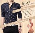 2017 Hombres Camisas Camisas de Vestir de Manga Larga Nuevo de Alta Calidad Más El Tamaño Para Hombre Casual Top de Algodón Camisa Masculina