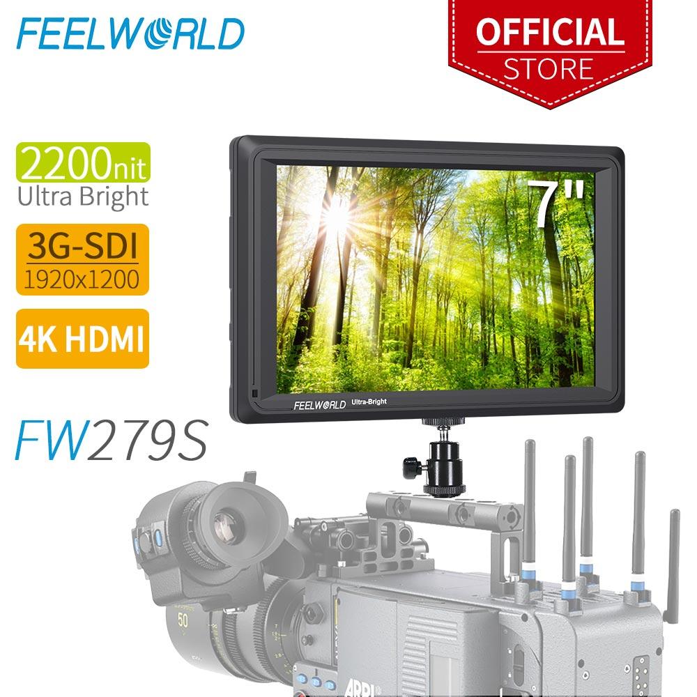 FEELWORLD FW279S 7 Pollici 2200nit Daylight Visibile 3G-SDI Mini HDMI sulla Fotocamera DSLR Monitor di 4 K HDMI 1920X1200 per Esterno