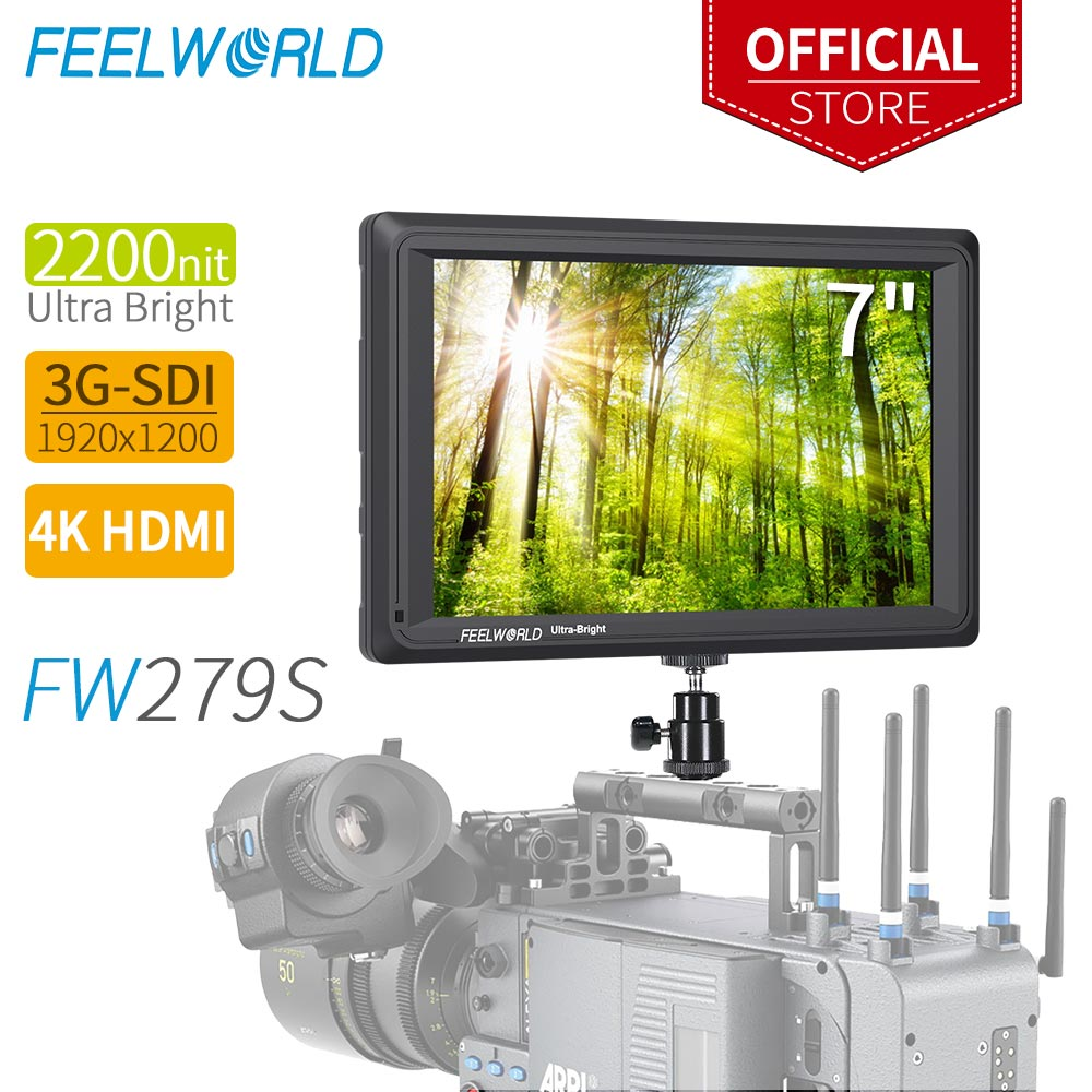 FEELWORLD FW279S 7 pouce 2200nit Lumière Du Jour Visible 3G-SDI Mini HDMI Moniteur Caméra Champ Moniteur 4 k HDMI 1920X1200 DSLR Camrea