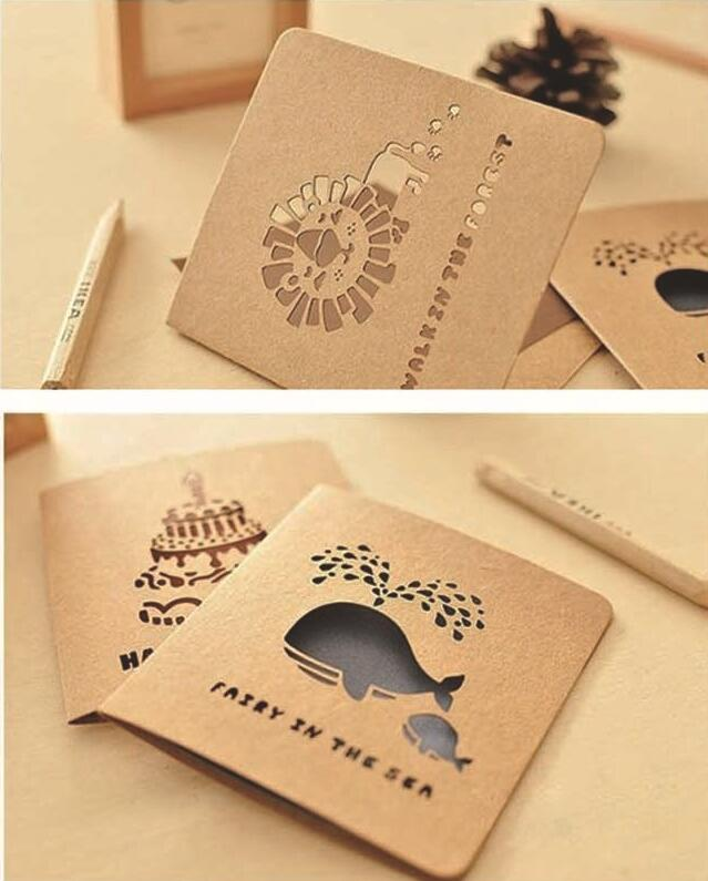 Mini greeting cards paper khkai vintage for birthday for Application box decoration
