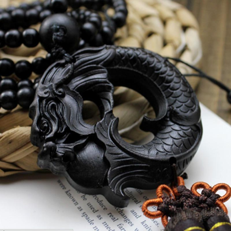 China Black Dragon Statue Beast Wood Carving Crafts Amulets Car Hanging Decoration Buddha Sculpture Wooden Craft Beads AHJ006&10