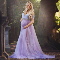 Le Couple Sweet Heart Tulle Long Maternity Photography Props Dresses Lace Maxi Maternity Tulle Gown For Photography Mama Dress
